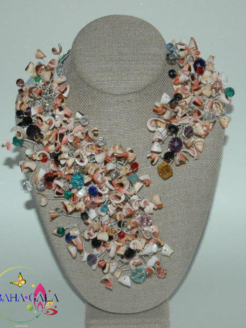 "Natural Pink Conch Shell Chips & Crystals ""Crown Jeweled"" Necklace & Earring"