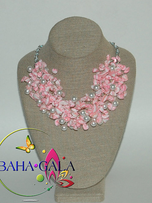 Pink & White Swirl Mother Of Pearl Nuggets Necklace & Earring Set.
