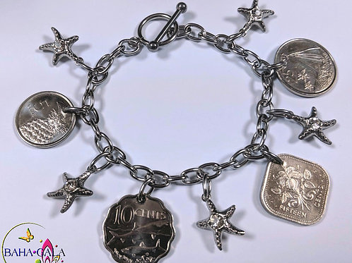Authentic Bahamian Coins & Charm Bracelet.