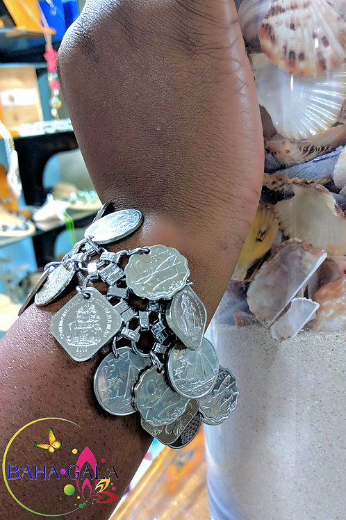 Gorgeous Authentic Bahamian Coins Butterfly Bracelet.