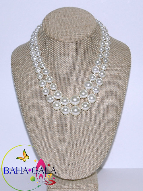 Double Strand Shell Pearls Necklace Set.