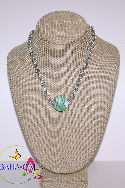 Green Swirl Agate Pendant Accented on Silver Stainless Steel Chain.