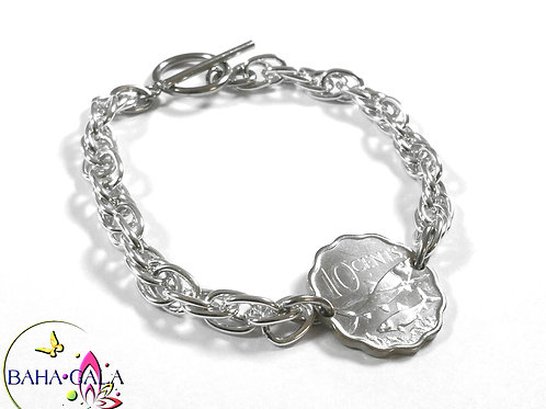 Authentic Bahamian $0.10 Cent Coin Bracelet.