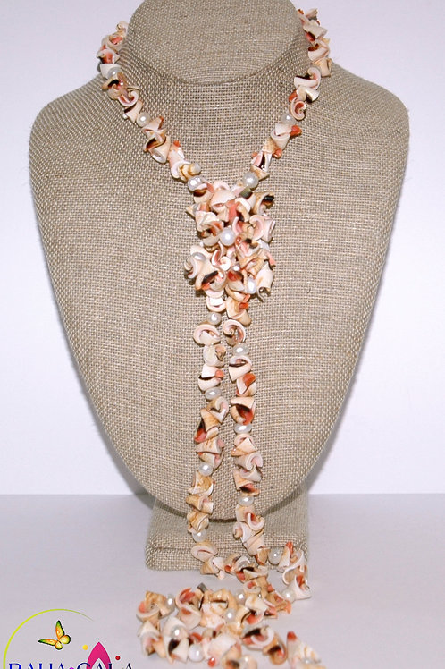 Natural Pink Conch Shells Opera Necklace & Earring Set.