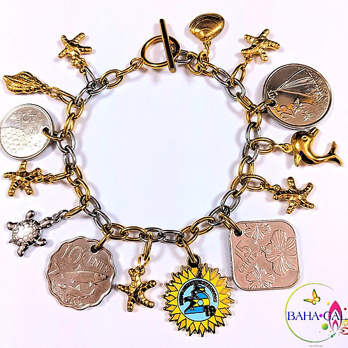 Authentic Bahamian Coins & Charms Stainless Steel Charm Bracelet.