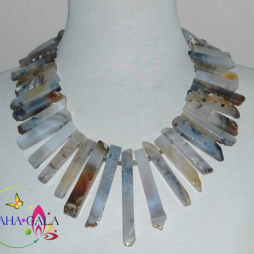 Stunning Natural Hues Agate Sticks Necklace & Earring Set.