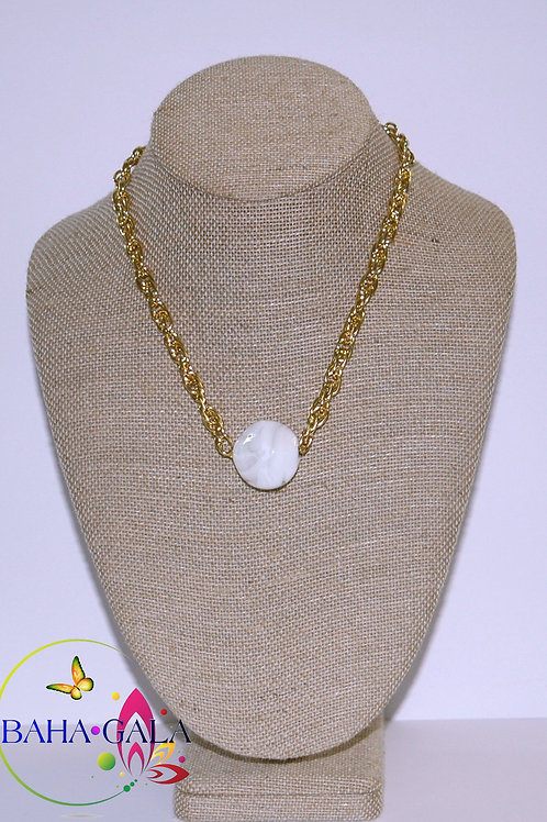 White Swirl Agate Pendant Accented on Gold Stainless Steel Chain.
