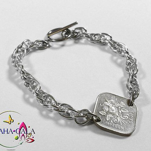 Authentic Bahamian $0.15 Cent Coin Bracelet.