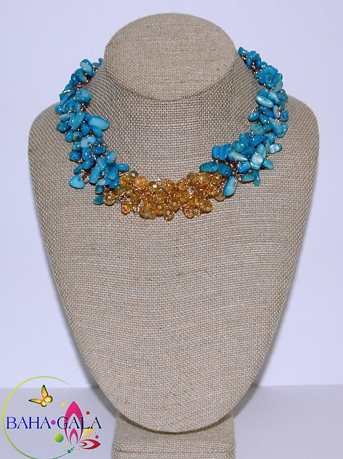 Turquoise Mother of Pearl & Crystals Crocheted Necklace Set.