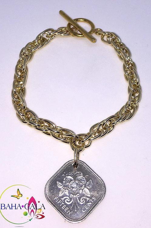 Authentic Bahamian $0.15 Cent Coin Bracelet