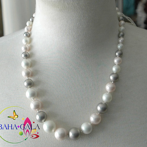 Silver, Rose Pink and White Shell Pearls Necklace & Earring Set.