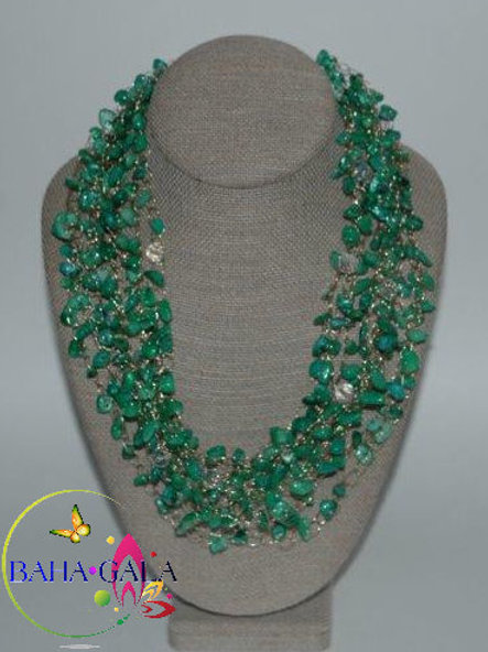 Beautiful Multistrand Green Mother Of Pearl Necklace & Earring Set.