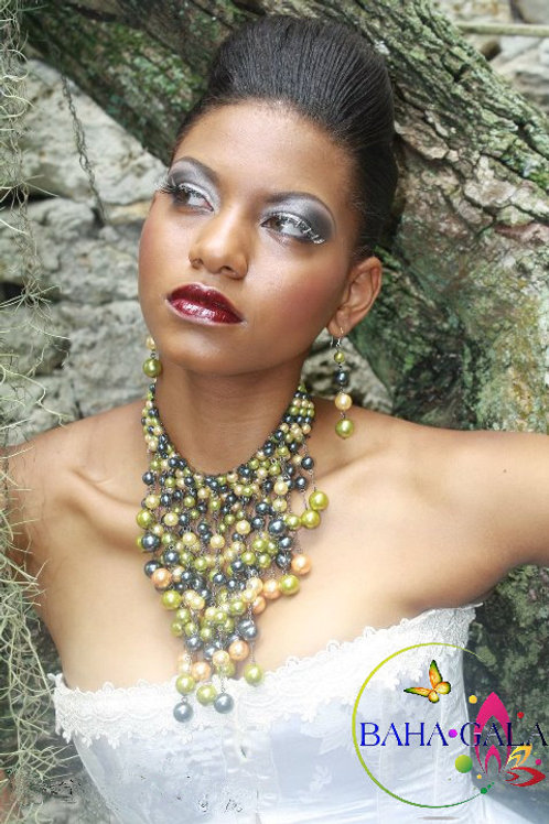Gorgeous Cascading Gold, Black & Yellow Shell Pearls Necklace & Earring Set.