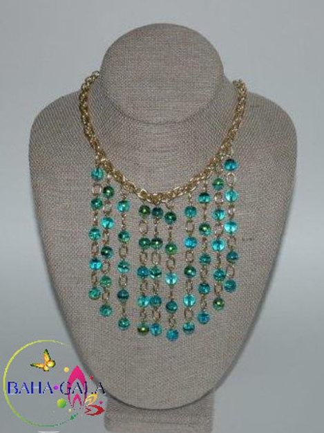 Green Murano Glass Cats Eye Waterfall Necklace & Earring Set.