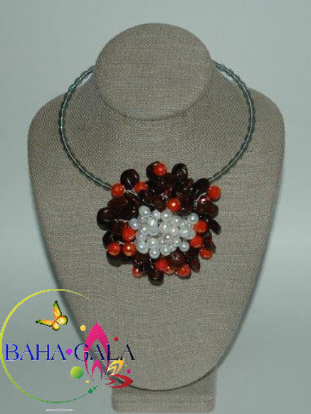 Tamarind Seeds with Orange Crystals & Freshwater Pearls Flower Necklace Set.