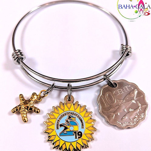 Authentic Bahamian Coin & Charms Stainless Steel Bangle.