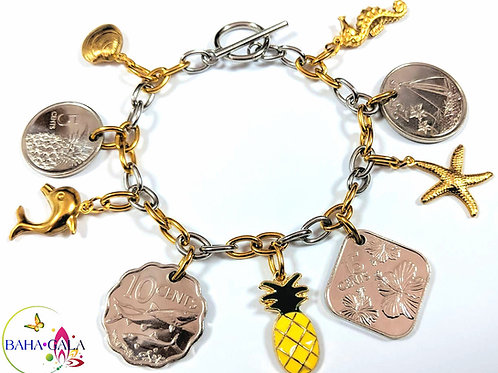 Authentic Bahamian Coins & Charms Stainless Steel Charm Bracelet