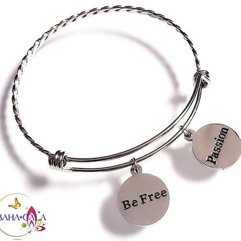 "BG ""Inspire"" Stainless Steel ""Butterfly Twist"" Adjustable Charm Bangle."