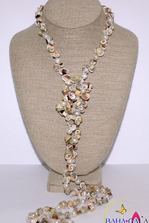 Natural Earthtone Conch Shells Opera Necklace & Earring Set.