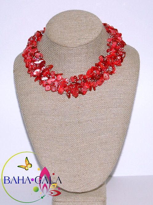 Burnt Coral Crocheted Necklace Set.