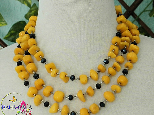 Yellow Jade & Black Crystals 3-Strand Necklace & Earring Set.