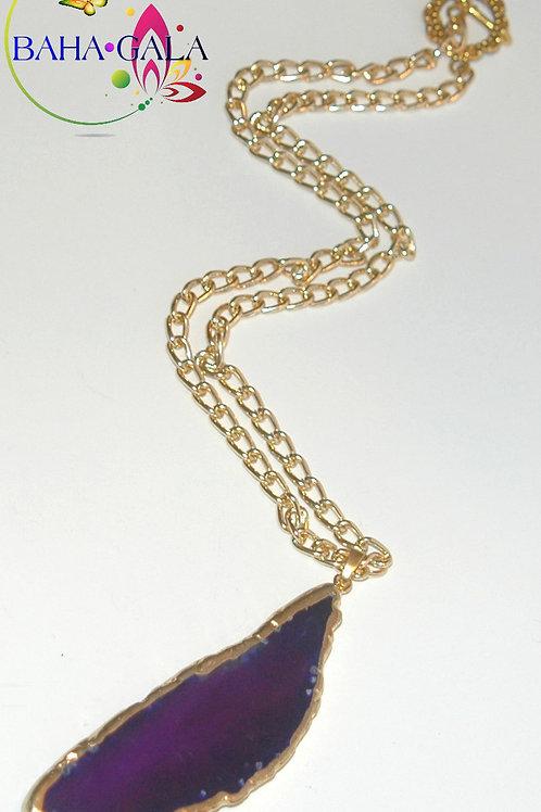 Natural Royal Purple Agate Pendant.