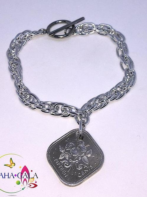 BG Authentic $0.15 Cent Bahamian Coin Charm Bracelet.