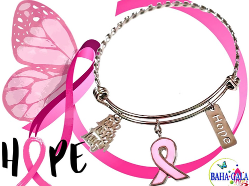 "Stainless Steel Adjustable ""Hope"" Bangle."