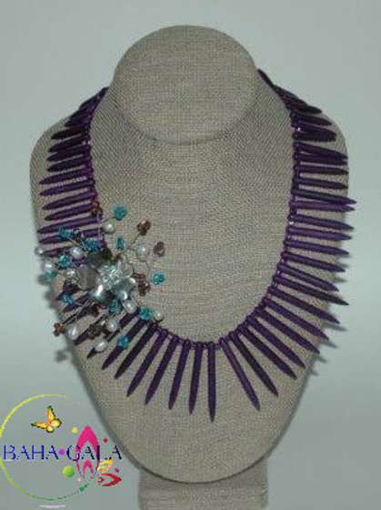 Dyed Purple Turquoise Sticks Necklace & Earring Set.