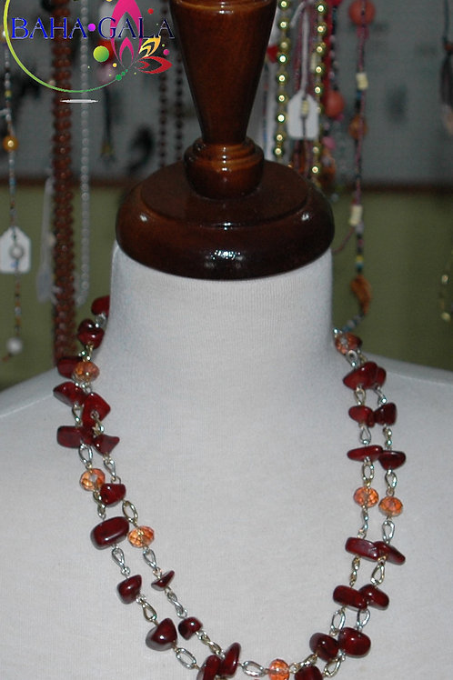 Wine Colored Multi-Styled Jade Necklace & Earring Set.