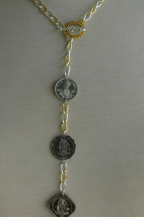 Authentic Bahamian Coins Pendant Necklace & Earring Set.