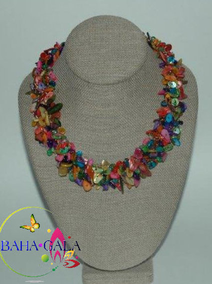 Gorgeous Multicolored Mother Of Pearl Crocheted Necklace & Earring Set.