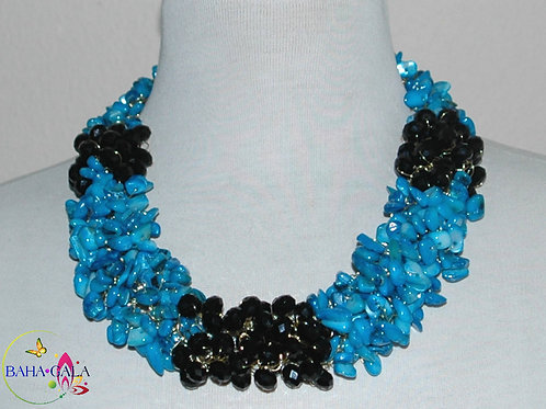 Dyed Turquoise Natural Mother Of Pearl Necklace & Earring Set.
