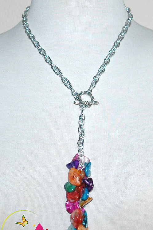 Natural Mother Of Pearl Dyed Multicolored Pendant Necklace Set.