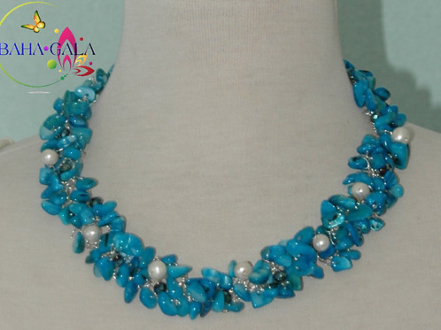 Beautiful Turquoise Mother Of Pearl Necklace & Earring Set.