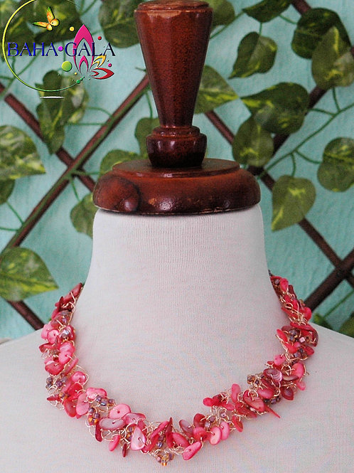 Coral Crocheted Necklace & Earring Set Accented with Champagne Crystals.