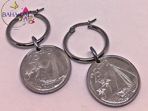 BG $0.25 Cent Stainless Steel Hoop Earring.
