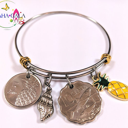 Authentic Bahamian Coins & Charms Stainless Steel Bangle.