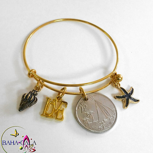 Authentic Bahamian Coin Stainless Steel Gold Baha Bangle.