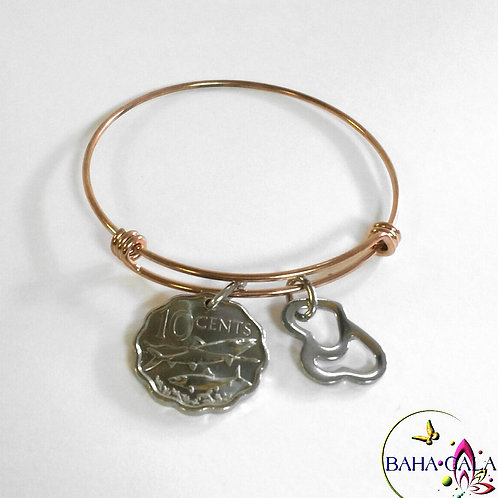 Authentic Bahamian Coin Rose Gold Baha Bangle.