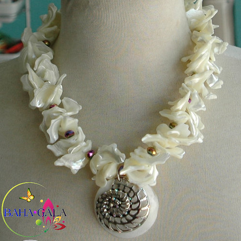 Beautiful Mother Of Pearl & Irridescent Crystals Necklace & Earring Set.