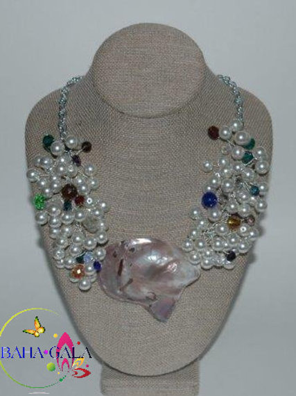 Glass Pearls & Multiolored Crystals with Natural Shell Necklace & Earring Set.