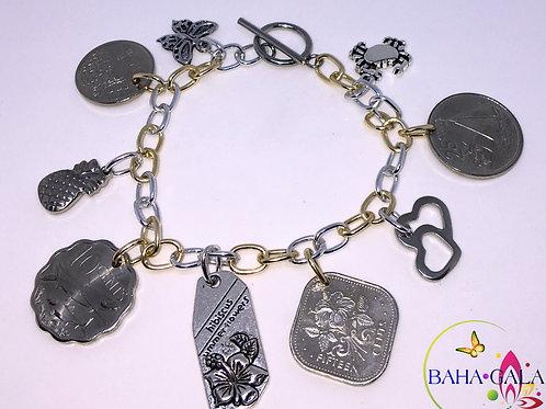 Authentic Bahamian Coins & Charm Bracelets.