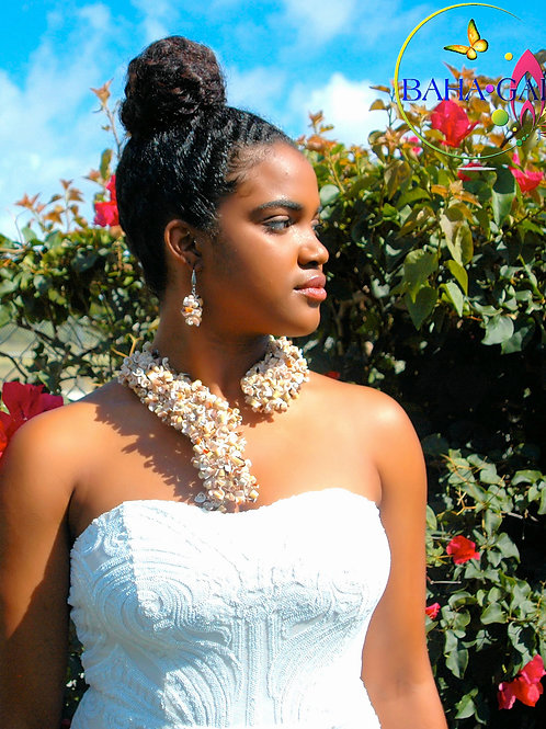 "Natural Conch Shells""Crown"" Necklace & Earring Set"