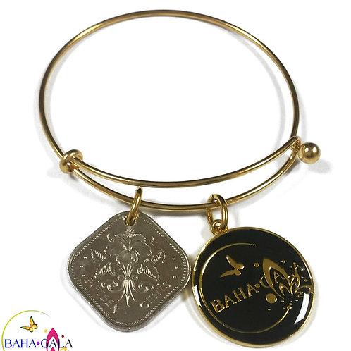 Baha Bangle Coin Charm Bracelet