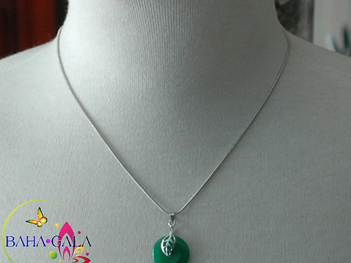 Jade Disc Pendant with Stainless Steel Leaf.