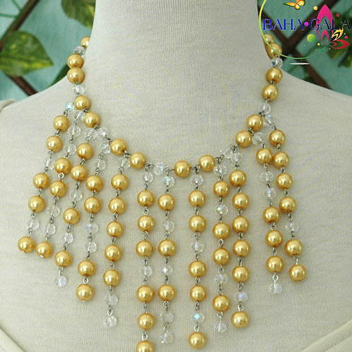 Yellow Glass Pearls & Clear Crystals Waterfall Necklace & Earring Set.
