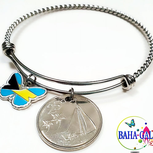 """The Elegant """"Halo Twist"""" Bahamian Butterfly Charm & Coin Bangle.."""