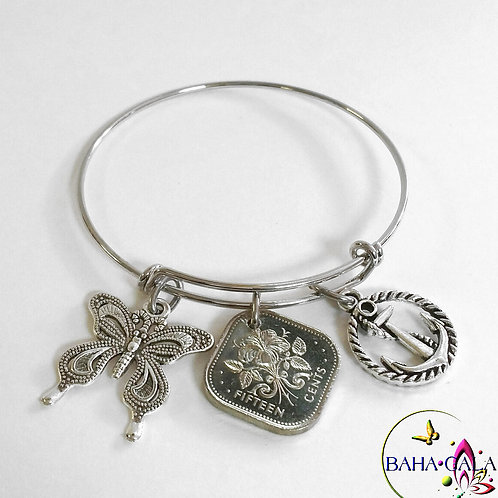 Authentic Bahamian Coin Stainless Steel Silver Baha Bangle.