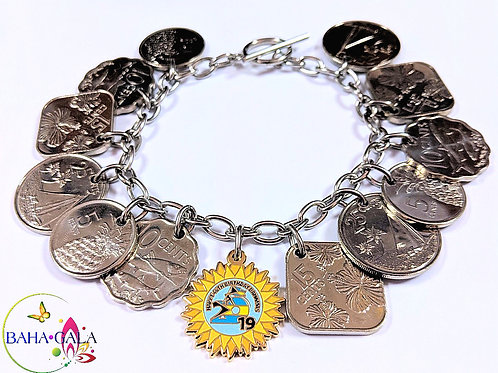Authentic Bahamian Coins & Sun Charm Stainless Steel Charm Bracelet